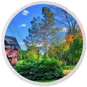 Round Beach Towel featuring the photograph Autumn Days On Campus At Cornell University - Ithaca, New York by Lynn Bauer
