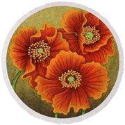 Round Beach Towel featuring the painting Autumn Encroaches by Amy E Fraser