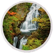 Autumn Falls, Crystal Cascade Round Beach Towel