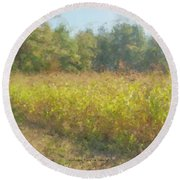 Autumn Field In Sunlight Round Beach Towel