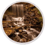 Round Beach Towel featuring the photograph Autumn Foliage At West Milton by Dan Sproul