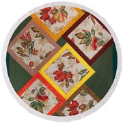 Autumn Fruit And Leaves Round Beach Towel