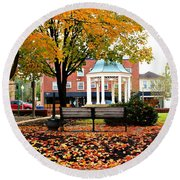 Round Beach Towel featuring the photograph Autumn Gatherings  by Candice Trimble