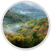 Autumn Hillsides With Mist Round Beach Towel