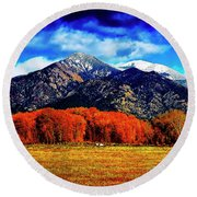 Autumn In Taos New Mexico Round Beach Towel