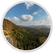 Round Beach Towel featuring the photograph Autumn In The Elbe Sandstone Mountains by Andreas Levi