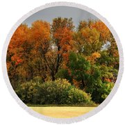 Autumn Is Nigh  Round Beach Towel