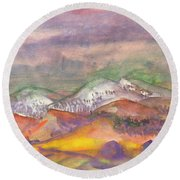 Autumn Landscape In Cloudy Weather Round Beach Towel