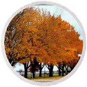 Autumn Leaves In Menominee Michigan Round Beach Towel