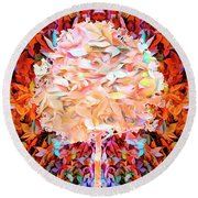 Round Beach Towel featuring the photograph Autumn Leaves by Mike Braun