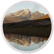 Round Beach Towel featuring the photograph Autumn Meets Winter At Blaven by Stephen Taylor