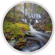 Round Beach Towel featuring the photograph Autumn Mist by Bill Wakeley