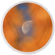 Round Beach Towel featuring the photograph Autumn Moon by Dan Sproul