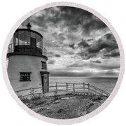Round Beach Towel featuring the photograph Autumn Morning At Owls Head Black And White by Rick Berk