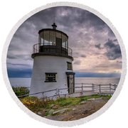 Round Beach Towel featuring the photograph Autumn Morning At Owls Head by Rick Berk