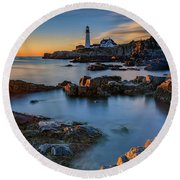Round Beach Towel featuring the photograph Autumn Morning At Portland Head Lighthouse  by Rick Berk