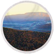 Round Beach Towel featuring the photograph Autumn Mountains  by Candice Trimble