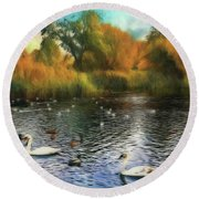 Round Beach Towel featuring the photograph Autumn On The Lake by Leigh Kemp