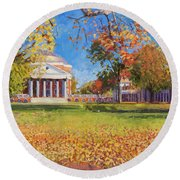 Autumn On The Lawn Round Beach Towel