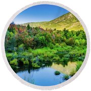 Round Beach Towel featuring the photograph Autumn On The Little Deer Creek by TL Mair