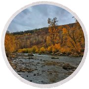 Round Beach Towel featuring the photograph Autumn On The Yampa River by Dan Miller