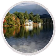 Autumn Reflection Lake Morey Vermont Round Beach Towel