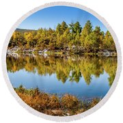 Round Beach Towel featuring the photograph Autumn Reflections At Ivie Pond by TL Mair