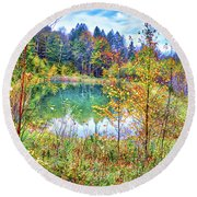 Round Beach Towel featuring the photograph Autumn Reflections At The Pond by Lynn Bauer
