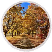 Round Beach Towel featuring the photograph Autumn Road by Brian Eberly