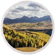 Round Beach Towel featuring the photograph Autumn Season View Of Sneffles Ten Peak by James BO Insogna