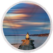 Round Beach Towel featuring the photograph Autumn Skies At Spring Point Ledge Lighthouse by Rick Berk