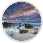Round Beach Towel featuring the photograph Autumn Sky At Wells Beach by Rick Berk