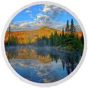 Autumn Sky, Mountain Pond Round Beach Towel