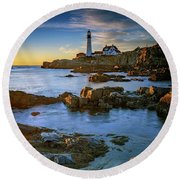 Round Beach Towel featuring the photograph Autumn Tranquility At Portland Head by Rick Berk