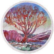 Autumn Tree By The River Round Beach Towel