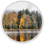Autumn Trees On The Bank Of Lake Round Beach Towel