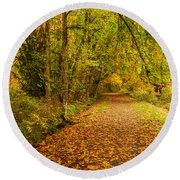 Round Beach Towel featuring the photograph Autumn Walk by Bob Cournoyer