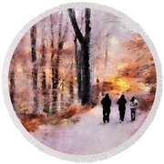 Autumn Walkers Round Beach Towel