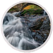 Round Beach Towel featuring the photograph Autumn Waterfall In Hallowell by Rick Berk