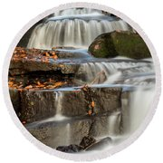 Round Beach Towel featuring the photograph Autumn Waterfall by Scott Lyons