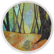 Autumn's Arrival II Round Beach Towel