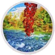 Round Beach Towel featuring the photograph Autumn's Flame - Niagara Falls, New York by Lynn Bauer
