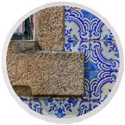 Azulejo Tile Of Portugal Round Beach Towel