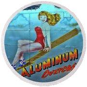 B - 17 Aluminum Overcast Pin-up Round Beach Towel