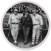 Babe Ruth And Jack Bentley 1923 Round Beach Towel