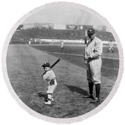 Babe Ruth And The Team Mascot Round Beach Towel