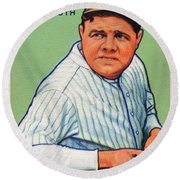 Babe Ruth Baseball Card 1933 Round Beach Towel