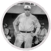 Babe Ruth With The Yankees Round Beach Towel