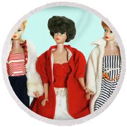Baby It's Cold Outside Barbies Round Beach Towel