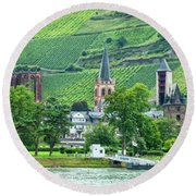 Round Beach Towel featuring the photograph Bacharach, Germany, On The Rhine by Kay Brewer